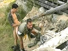 Military twinks fuck n cock cream outdoors