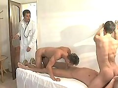 Pretty twinks greedily take in largest cock of doctor