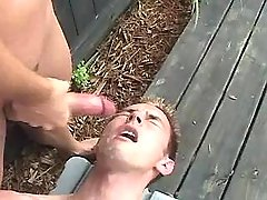 Sexy gay jizzes and eats cum outdoor