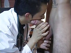 Gay latin doctor plays with taut rod