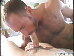 Mature hirsute gay orally fixating cute dude
