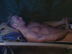 Charming gay masturbates in sofa